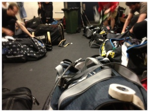 The massive bags that fill your typical hockey change room. Pic: Nicko