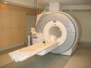 An MRI machine. Riddle me this: how did this camera not get sucked into the machine? Shenanigans.
