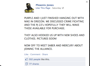 Phoneix Jones in full facebook flight ...