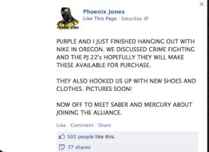 Phoneix Jones in full facebook flight ...