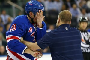 Marc Staal wonders if he still has an eye, on Monday.
