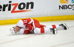 Dan Cleary hits the deck, versus the Ducks. You know he's getting up. Pic: Detroit News.