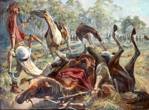 Artist FJ (John) Beeman's depiction of the Geebung v Cuff & Collar showdown.