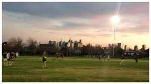 Dusk at the Brunswick Street Oval as I ran.
