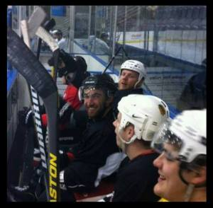 Kyle Quincey on the bench at an Icehouse drop-in. Pic: Wayne McBride