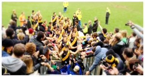 Richmond's captain Trent Cotchin leads his team down the race. Pic: Nicko