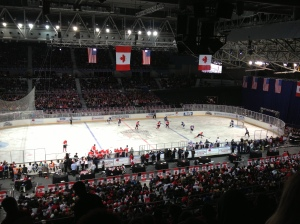 USA v Canada from the cheap seats, at Hisense Arena. ... Meh.