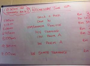 Geoff's pic of the whiteboard. Note the 5 pm slot.