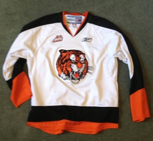 This is the jersey I was wearing in the first ever wobbly-skating shot on this blog. Medicine hat white: a cool early Richmond Tigers-hockey-obscure Wings crossover. Big Cat shamelessly stole the black version, which is cooler, damn him.