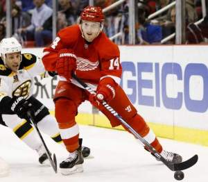Gus Nuyquist, finally where he belongs: wearing the winged wheel and tearing it up at the Joe. Pic Detroit Free Press.