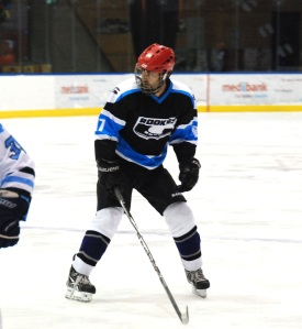 Wearing the Rookies black, in action against IBM at the Icehouse.