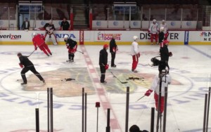 A Red Wings 'morning skate'. There's rarely such a thing as a day off in the NHL.
