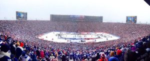 A panorama of the Big House: the largest hockey crowd ever, and in snow and 12 degrees F.