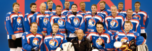 Estonia's Total hockey team. Arnold on the right, middle row.