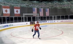 Seeing how it feels to skate like a USA-Canada star, just, you know, without the talent.