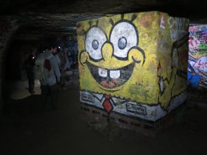 Spongebob makes an appearance among the catacomb artwork. Picture: Nicko