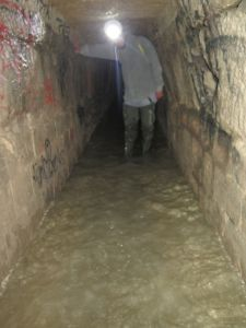 A shallow part of the water-logged section of the tunnels. Picture: Nicko