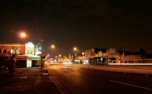 Late night in the hood. Empty streets, apart from shiftworkers, emergency workers, desperadoes and hockey players.