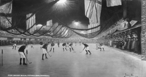 The early days: ice hockey under a roof. Montreal, 1893.