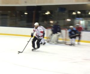 Lliam Webster moving at maybe 50 per cent capacity during the coach scrimmage. Pic: Nicko
