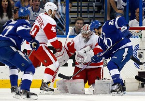 Detroit and Tampa Bay battle it out in the NHL play-offs.
