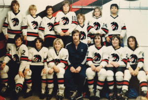 1980 Blackhawks, featuring Will Brodie. You can tell they're hockey players because nobody is looking at the right camera.