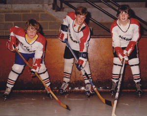 Will Brodie, centre, as a young Blackhawk in 1977. With his best mates, Glenn and Tim.