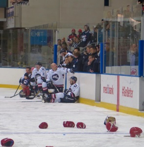 The beaten Ice team watch Newcastle receive the medals. Pic: Nicko