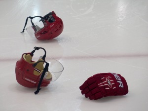 Newcastle gear abandoned on the ice, after victory. Pic: Nicko