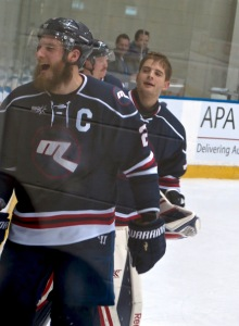 Ice captain Lliam Webster shows the joy and relief of beating Perth in Saturday's semi. Pic: Nicko
