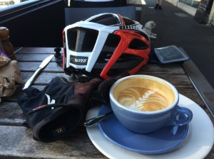 All the essentials: helmet, gloves and coffee.