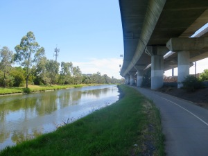Riding Railway Canal ... the glamour mile of Melbourne's bike paths.