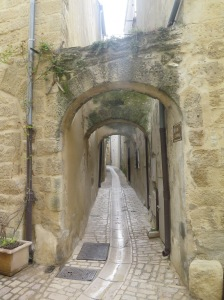Uzes, France. A place where you need to watch your head if you try to run through the town.
