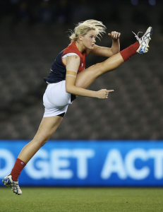Female footballer Tayla Harris displays a flawless kicking technique. Pic: Getty